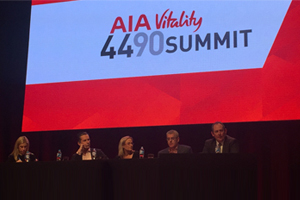 Matt Bacon presents at the AIA Vitality 4490 Summit